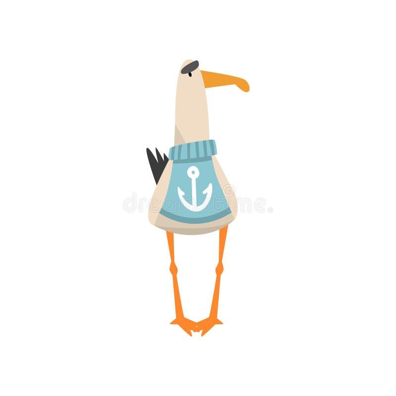 Marinero de la gaviota, personaje de dibujos animados divertido del pájaro que lleva el suéter azul con el ancla, Front View Vect ilustración del vector