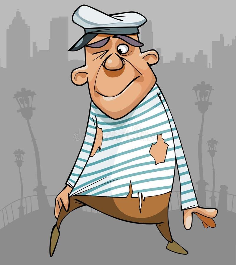 Marinero de sexo masculino divertido de la historieta en ropa desigual ilustración del vector