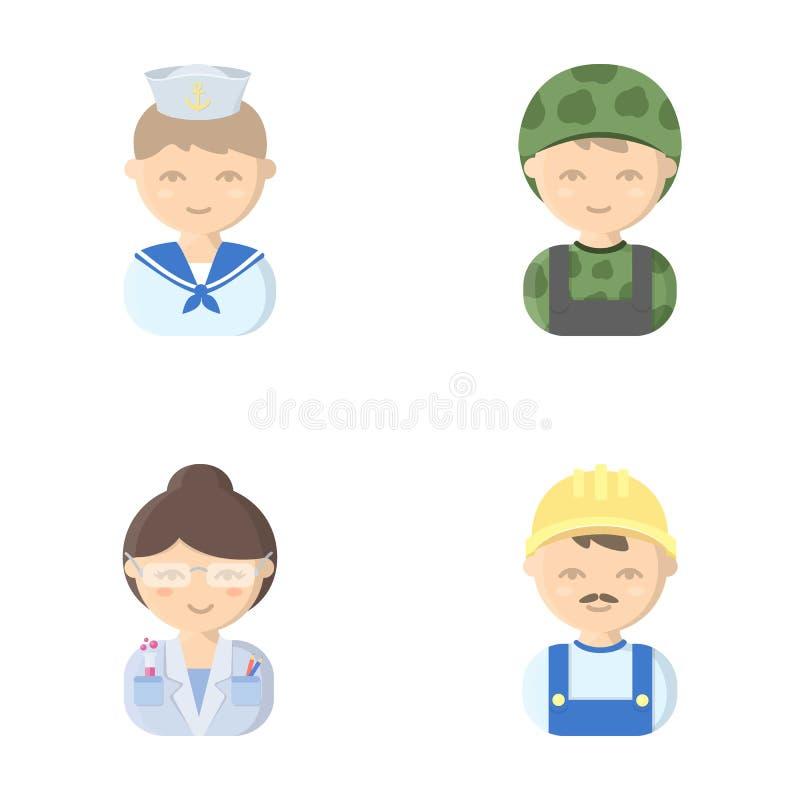 Marinero, soldado, científico, constructor Los iconos determinados de la colección de la profesión en estilo de la historieta vec ilustración del vector