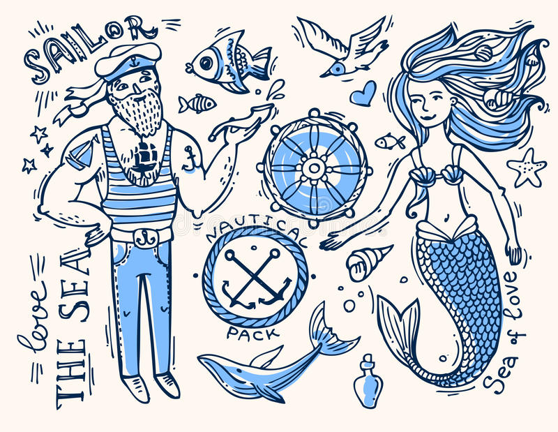 Marinero y sirena libre illustration