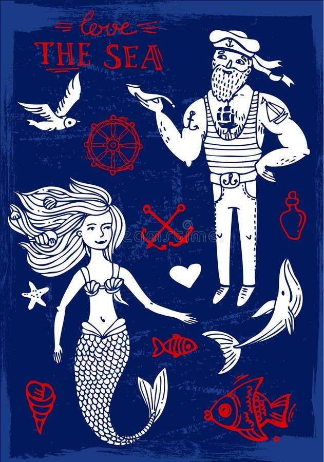 Marinero y sirena stock de ilustración