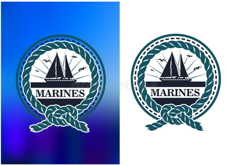 Marines circle emblem, logo in retro style vector illustration
