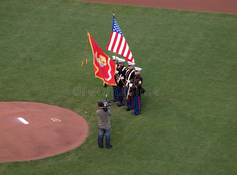 Download Marines Hold Flags During National Anthem Editorial Photo - Image: 19698641