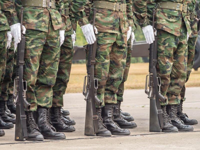 Marines performing Military Parade of Royal Thai Navy. Marines in Military Parade of Royal Thai Navy stock photography