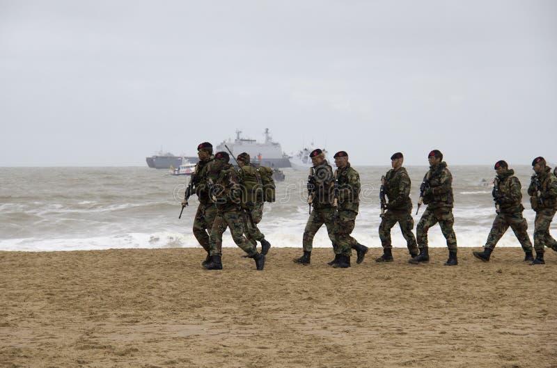 Marines sur la plage photographie stock