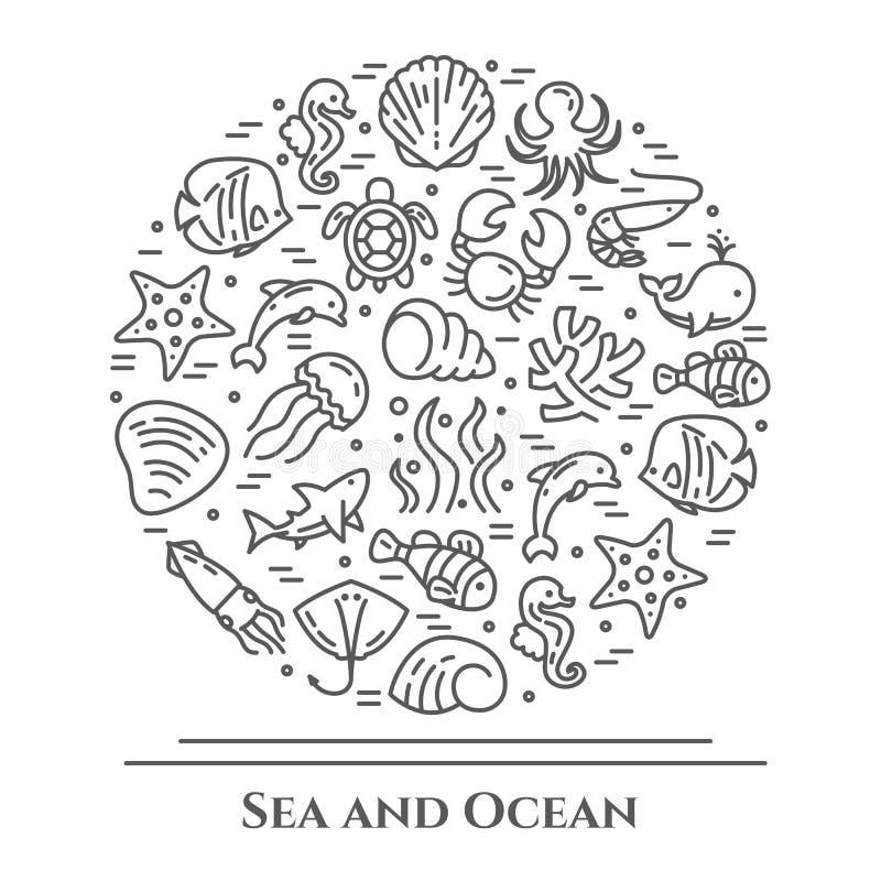 Marinethema-Schwarzweiss-Fahne Piktogramme von Fischen, von Oberteil, von Krabbe, von Haifisch, von Delphin, von Schildkröte und  vektor abbildung