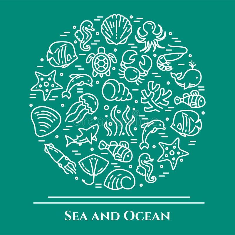 Marinethemaaquamarin und weiße Fahne Piktogramme von Fischen, Oberteil, Krabbe, Haifisch, Delphin, Schildkröte, andere Meerestier stock abbildung