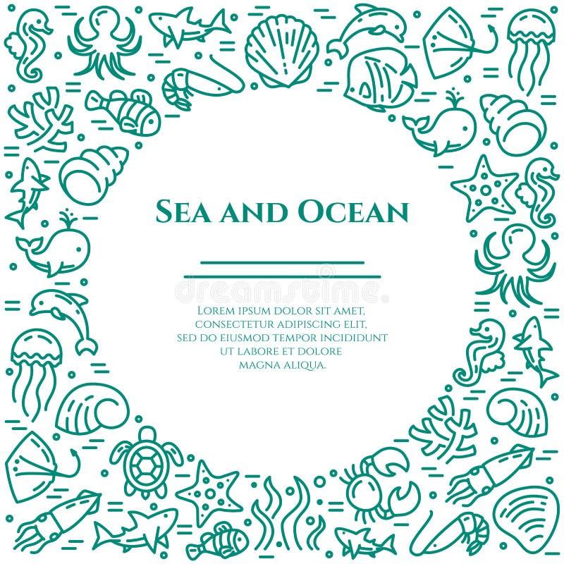 Marinethemaaquamarin und weiße Fahne Piktogramme von Fischen, Oberteil, Krabbe, Haifisch, Delphin, Schildkröte, andere Meerestier lizenzfreie abbildung