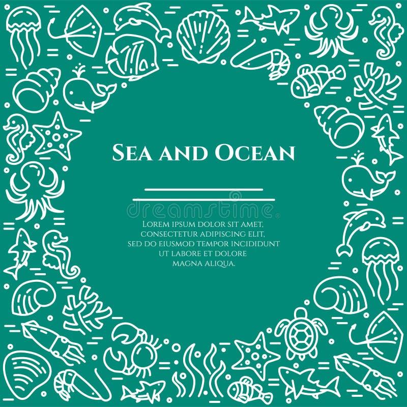 Marinethemaaquamarin und weiße Fahne Piktogramme von Fischen, Oberteil, Krabbe, Haifisch, Delphin, Schildkröte, andere Meerestier vektor abbildung