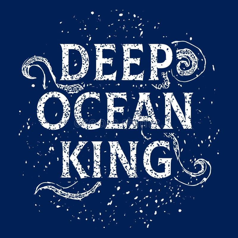 Marinethemavektort-shirt Druck-, Ozean- und Seeillustration mit Krakententakeln stock abbildung