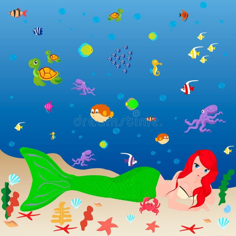 Marinewild lebende tiere und eine Meerjungfrau stock abbildung