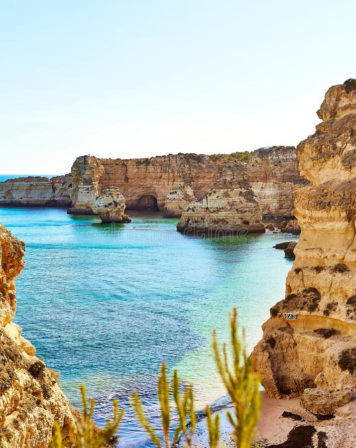Marinha beach - one of the most famous beaches of Portugal, on the Atlantic coast in Lagoa Municipality, Algarve. Navy Beach (Praia da Marinha) - one of the most stock photo