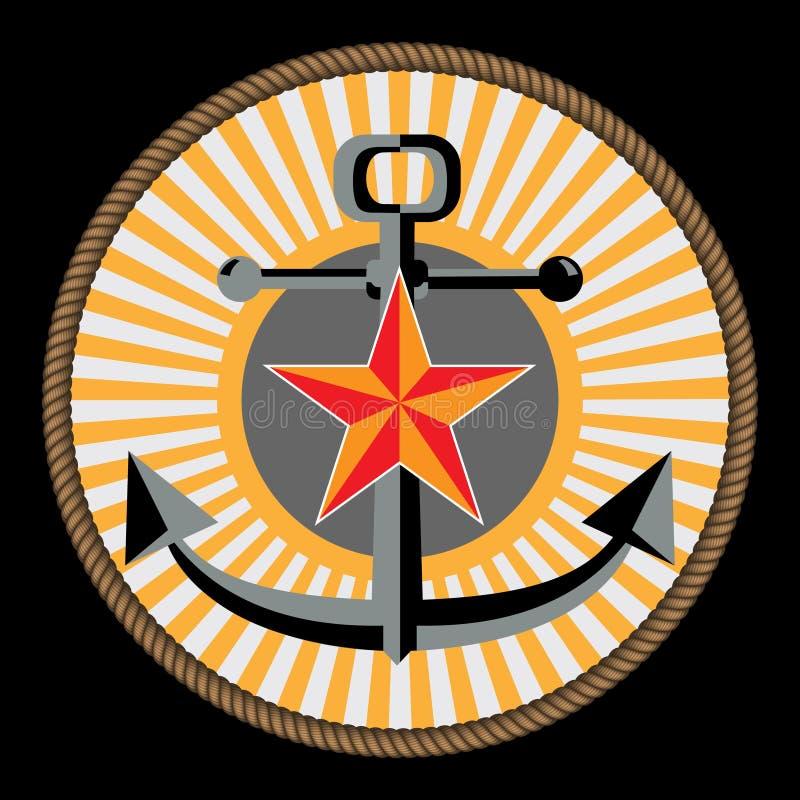 Marinha e emblema do corp marinho ilustração royalty free