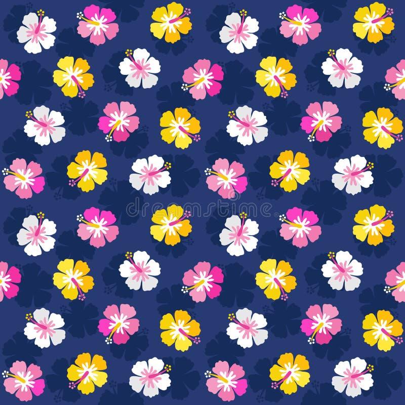 Marinha floral do rosa do fundo do hibiscus do verão colorido ilustração royalty free