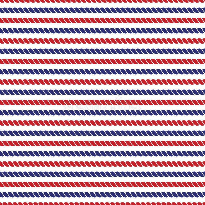 Marinha listrada e fundo sem emenda brilhante das cordas vermelhas ilustração stock