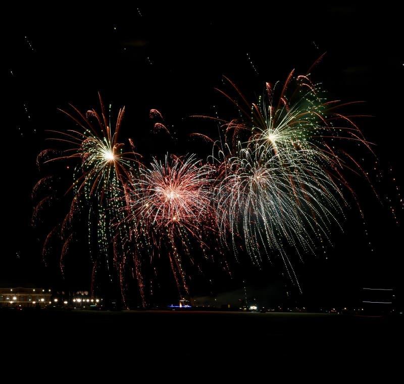 Marinha Pier Fireworks imagem de stock