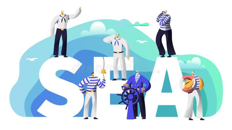 Marinheiro Character da bandeira da tipografia do mar Capitão idoso da barba na vela do volante a aventurar-se Marine Character ilustração stock