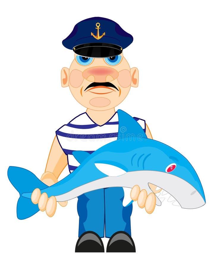 Marinheiro com caughted pelo tubarão ilustração do vetor