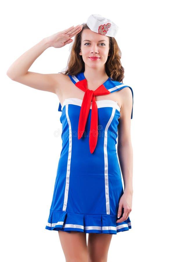 Marinheiro da jovem mulher foto de stock