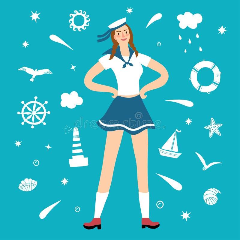 Marinheiro da menina com elementos decorativos no fundo ilustração do vetor