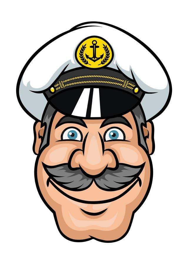 Marinheiro de Moustached ou capitão de navio ilustração do vetor