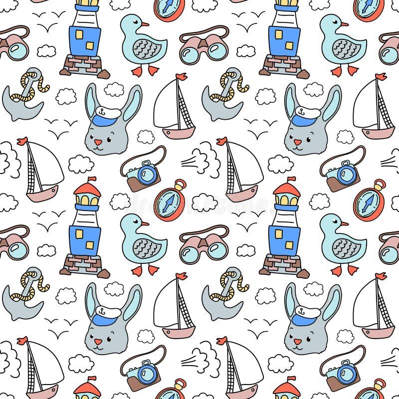 Marinheiro do coelho e lighhouse, teste padrão náutico Teste padrão sem emenda do vetor no fundo branco Curso marinho das férias ilustração royalty free