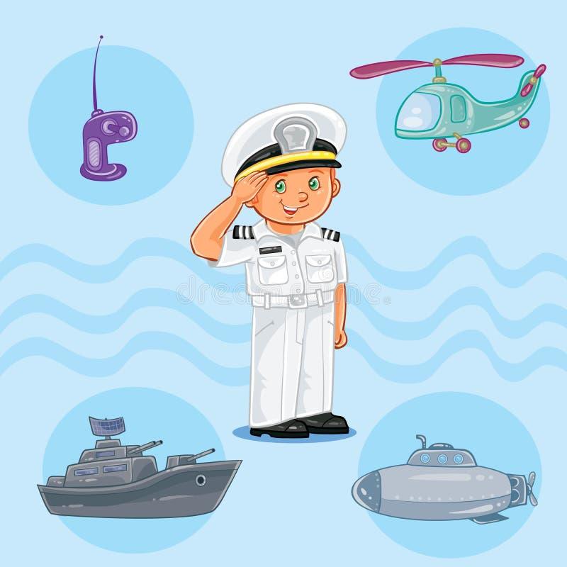 Marinheiro do rapaz pequeno com um navio de guerra, um submarino e um helicóptero ilustração royalty free