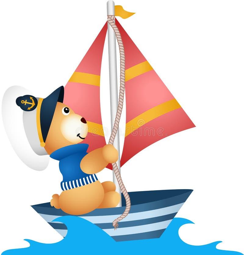 Marinheiro do urso de peluche em um barco ilustração do vetor