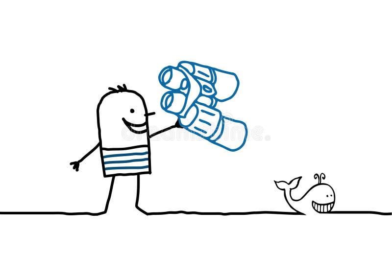 Marinheiro e baleia ilustração stock