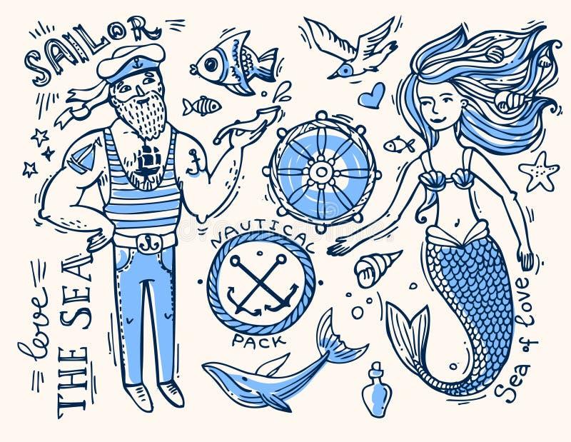 Marinheiro e sereia ilustração royalty free