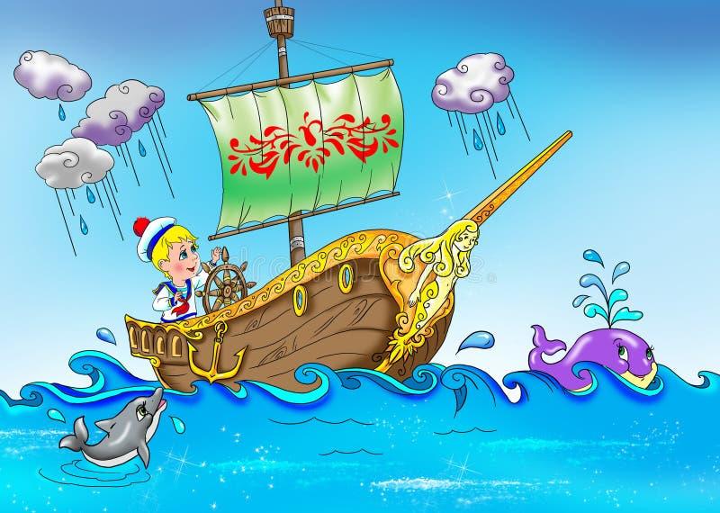 Marinheiro Pequeno No Barco Imagens de Stock Royalty Free