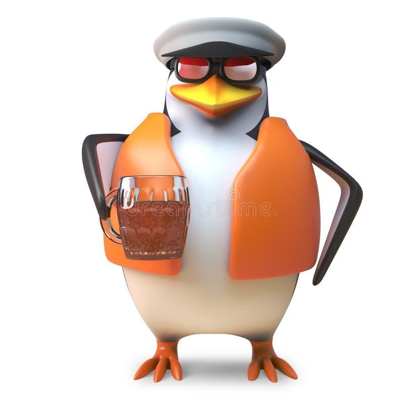 Marinheiro sedento do pinguim do capitão no equipamento náutico que bebe uma pinta da cerveja, ilustração 3d ilustração do vetor
