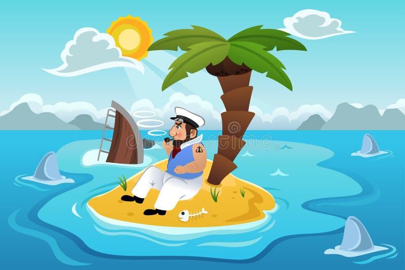 Marinheiro Stranded em uma ilha ilustração royalty free