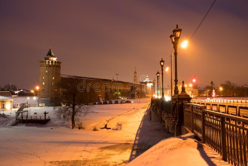 Marinkin wierza Kremlin Z mostem W Kolomna, Moskwa region zdjęcie royalty free
