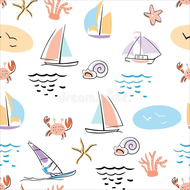 Marino-senza cuciture-modello-con-granchio-azione-vettore-illustrazione royalty illustrazione gratis
