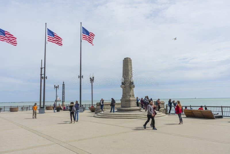 Marinpir på solig dag i Chicago, Illinois, USA arkivfoton