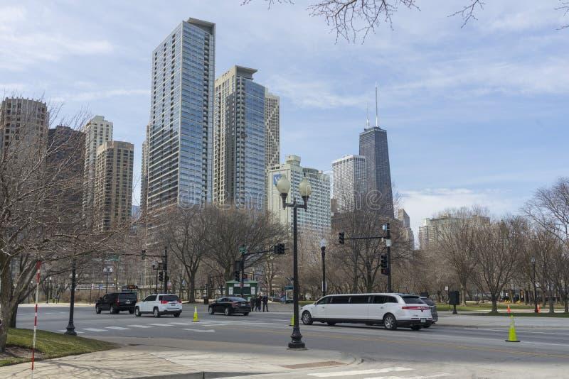 Marinpir på solig dag i Chicago, Illinois, USA royaltyfri bild