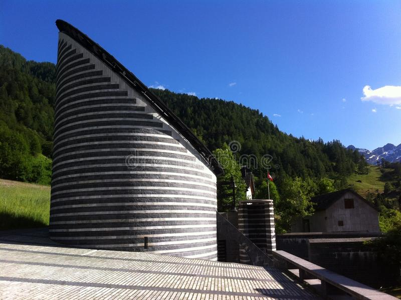 Mario Botta`s Mogno Church, Switzerland stock images