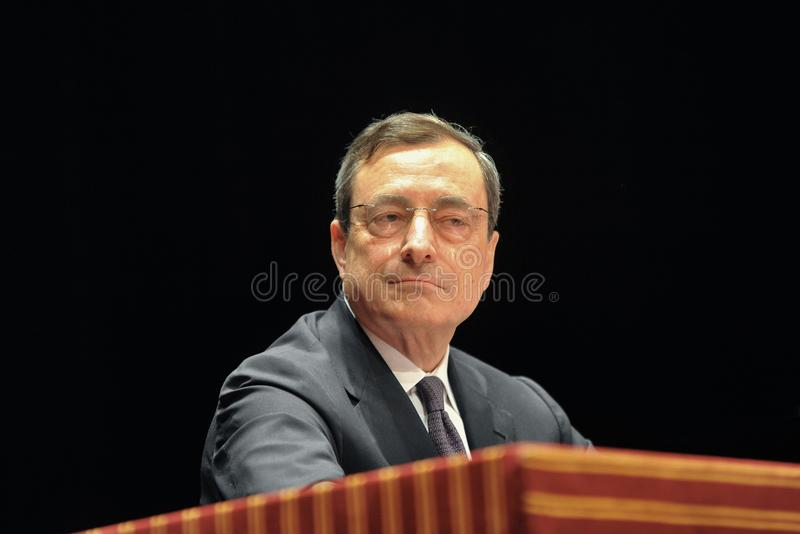 Mario Draghi the italian economist President of European Central Bank during an interview stock photography