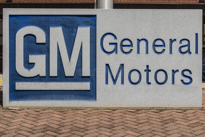 Marion - Circa April 2017: Het Embleem en Signage van General Motors bij het Metaal die Afdeling vervaardigen GM opende deze inst stock foto