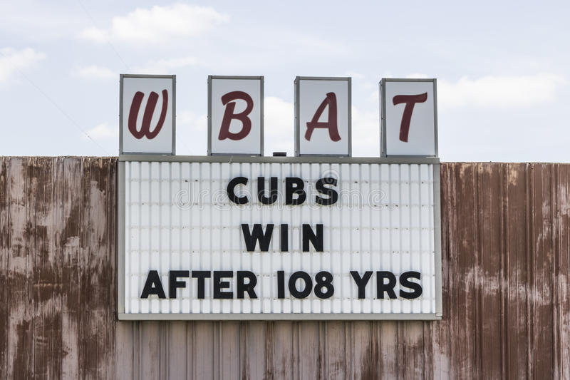 Marion - Circa April 2017: Sports Radio Station WBAT 1400 AM Celebrates The Chicago Cubs World Series Win I. Sports Radio Station WBAT 1400 AM Celebrates The royalty free stock photography