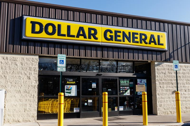 Dollar General Retail Location. Dollar General is a Small-Box Discount Retailer I. Marion - Circa March 2019: Dollar General Retail Location. Dollar General is a royalty free stock images