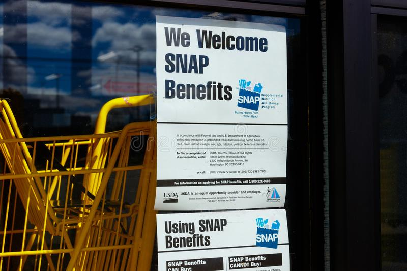 Sign at a Retailer - We Welcome SNAP Benefits IV stock photography