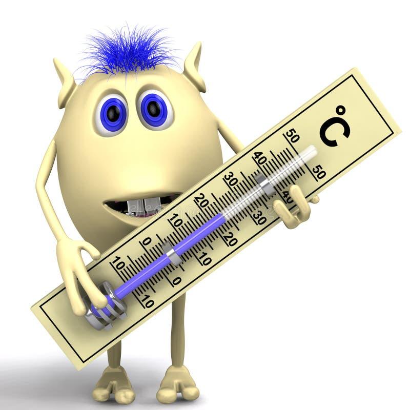 Marioneta cabelluda que sostiene el termómetro plástico grande stock de ilustración