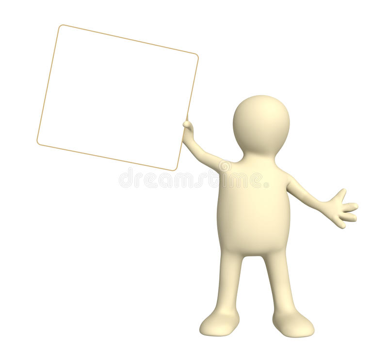 Marioneta con la tarjeta de la información stock de ilustración