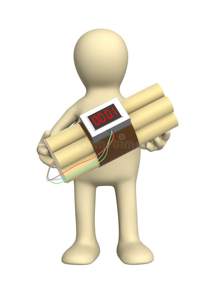 Marioneta con una bomba en manos ilustración del vector