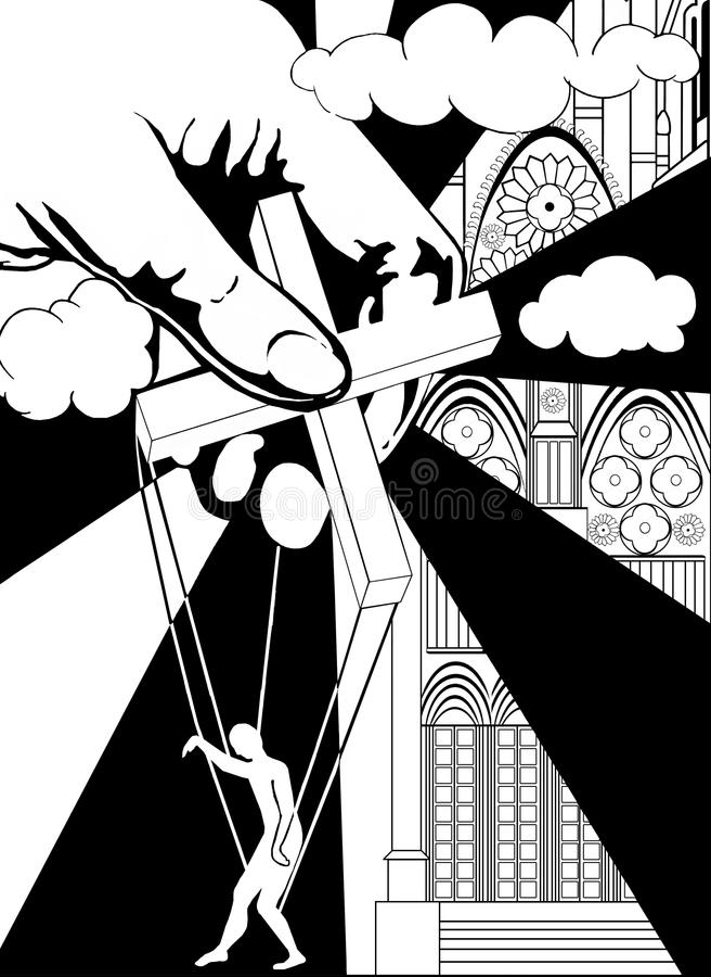 Marioneta cruzada y humana ilustración del vector