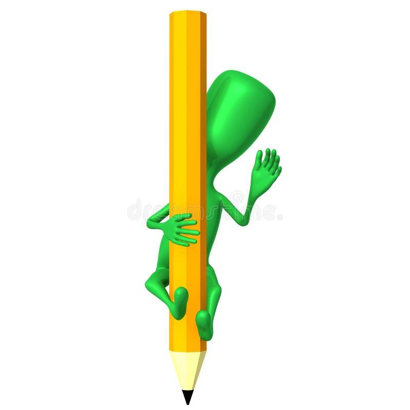 Marioneta de la visión 3d que sube en los lápices amarillos ilustración del vector