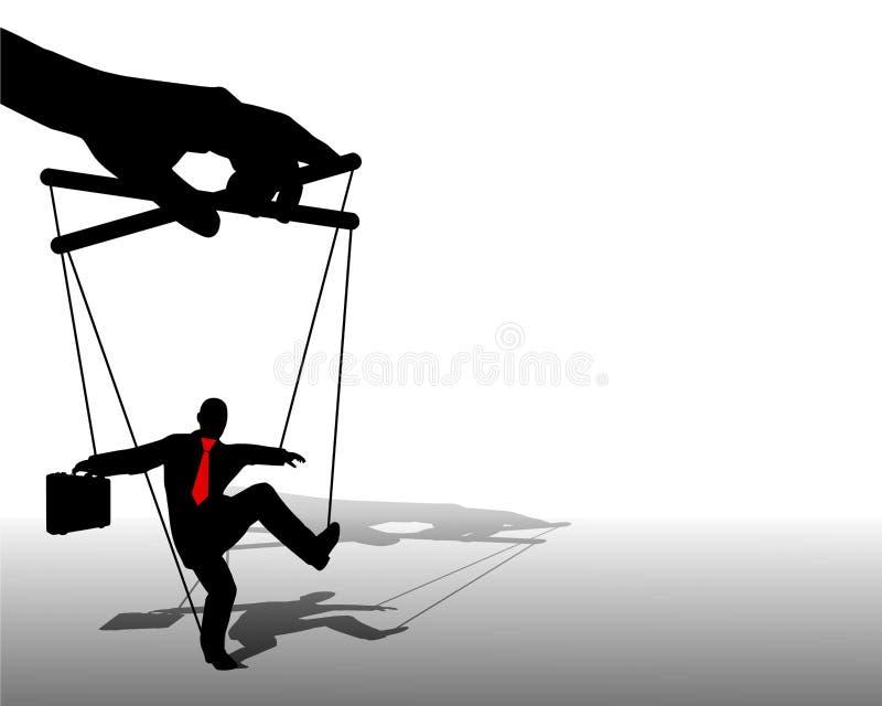 Marioneta del hombre de negocios en cadenas ilustración del vector