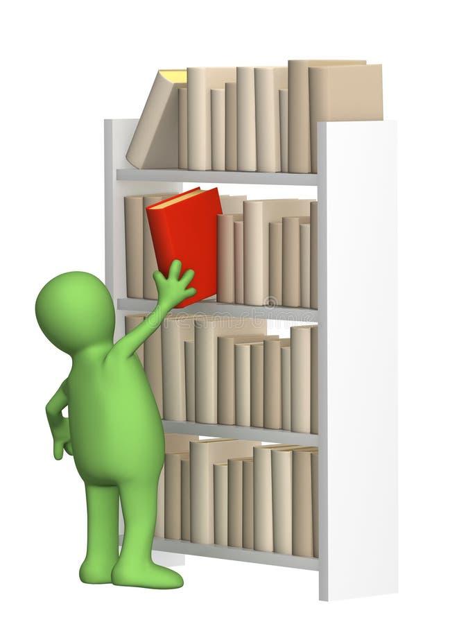 Marioneta que consigue de un estante el libro ilustración del vector